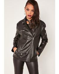 Missguided Boyfriend Faux Leather Biker Jacket Black