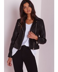 Missguided Faux Leather Biker Jacket Black