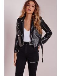 Missguided Petite Faux Leather Biker Jacket Black