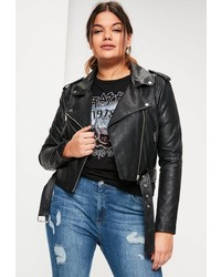 Missguided Plus Size Black Faux Leather Belted Biker Jacket