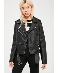 Missguided Tall Black Faux Leather Biker Jacket