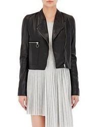MM6 MAISON MARGIELA Convertible Leather Moto Jacket Black
