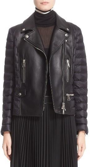 Moncler Souci Leather Down Moto Jacket