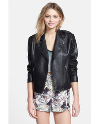 Mural Chic Love Studded Faux Leather Jacket
