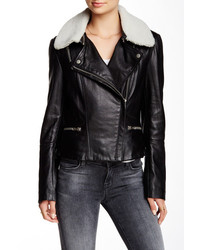 Muu Baa Muubaa Kavali Genuine Shearling Collar Leather Biker Jacket