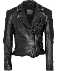 Muu Baa Muubaa Xera Quilted Suede And Leather Biker Jacket
