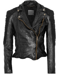 Muu Baa Muubaa Xera Quilted Suede And Leather Biker Jacket