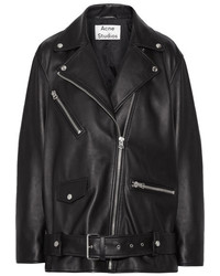 Acne Studios Myrtle Leather Biker Jacket Black