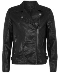 N1sq Black Faux Leather Biker Jacket