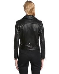 Saint Laurent Nappa Leather Biker Jacket W Logo Patch