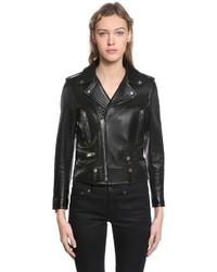 Saint Laurent Nappa Leather Biker Jacket W Logo Patch