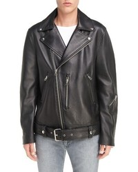 Nate belted leather moto jacket medium 1150316