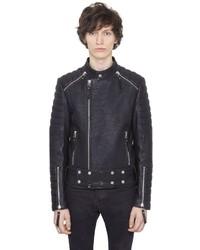 Natural Tumbled Leather Moto Jacket