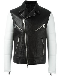 Neil Barrett Contrasting Sleeves Biker Jacket