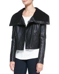 Neiman Marcus Cusp By Faux Sherpa Lined Faux Leather Jacket Black