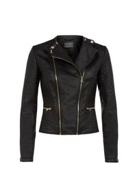 New Look Black Double Zip Padded Sleeve Biker Jacket