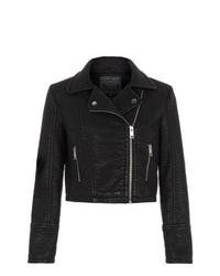 New Look Black Leather Look Textured Biker Jacket