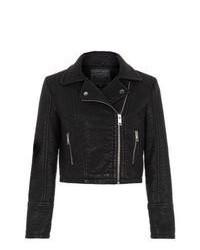 New Look Black Leather Look Textured Biker Jacket