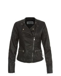 New Look Black Leather Look Zip Pocket Biker Jacket