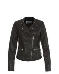 New Look Black Leather Look Zip Pocket Biker Jacket