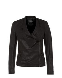 New Look Black Leather Waterfall Jacket