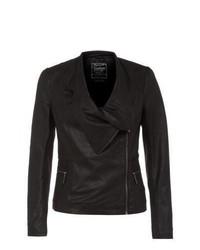 New Look Black Leather Waterfall Jacket