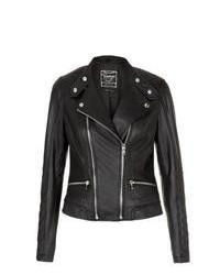 New Look Black Ripple Leather Biker Jacket