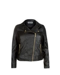 New Look Inspire Black Leather Look Biker Jacket