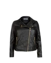 New Look Inspire Black Leather Look Biker Jacket