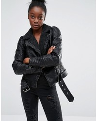 Only Bonded Faux Leather Biker Jacket With Lining