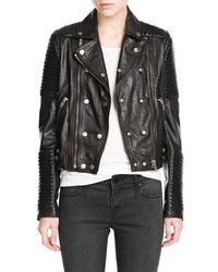 Mango Outlet Leather Biker Jacket