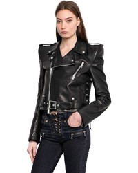 Unravel Padded Shoulder Leather Biker Jacket