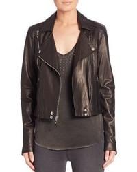 Paige Roxanna Cropped Leather Moto Jacket