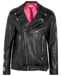 Gucci Painted Textured Leather Biker Jacket Black
