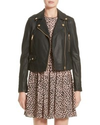 Burberry Patternsby Lambskin Leather Moto Jacket