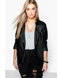 Boohoo Plus Eliza Quilted Faux Leather Biker Jacket