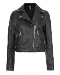Topshop Premium Belted Leather Biker Jacket