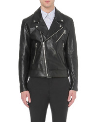 Paul Smith Ps By Zip Detail Leather Biker Jacket