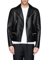 Neil Barrett Quilted Sleeve Leather Biker Jacket