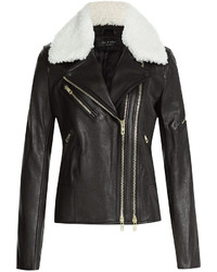 Rag & Bone Leather Biker Jacket With Shearling