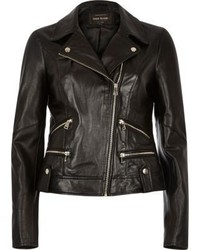 River Island Black Leather Biker Jacket