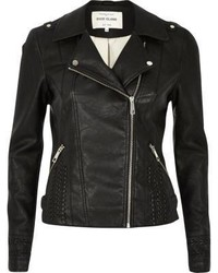 River Island Black Leather Look Whipstitch Biker Jacket