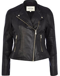 River Island Black Leather Zip Detail Biker Jacket