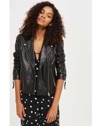 Topshop Rosemary Leather Biker Jacket