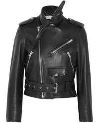 Balenciaga Scarf Leather Biker Jacket Black