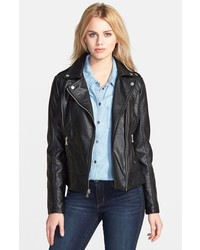 GUESS Shrunken Faux Leather Moto Jacket
