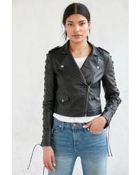 Silence & Noise Silence Noise Aced Laced Vegan Leather Moto Jacket