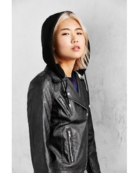 Silence & Noise Silence Noise Hooded Vegan Leather Jacket