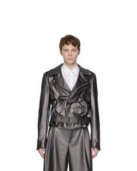 Comme Des Garcons Homme Plus Silver Faux Leather Jacket