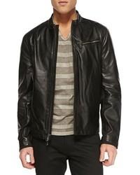 John Varvatos Star Usa Tumbled Leather Moto Jacket Black